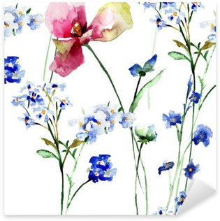 Vinilo Pixerstick Patrón sin fisuras con flores silvestres