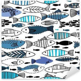 Vinilo Pixerstick Patrón transparente bajo el agua con peces. Sin fisuras patrón se puede utilizar para fondos de pantalla, fondos de páginas web