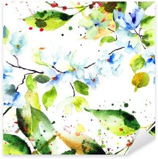 Pixerstick para Todas las Superficies Patrón transparente de primavera con flores