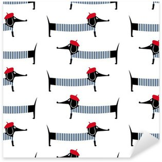 Vinilo Pixerstick Perro del estilo francés patrón transparente. Linda de la historieta ilustración vectorial perro salchicha parisina. Niño dibujo de fondo cachorro estilo. Francés perro vestido estilo con la boina roja y vestido a rayas.