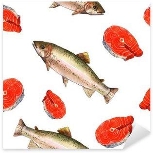 Pixerstick para Todas las Superficies Pescados de la trucha de mar. Ilustración hecha a mano la pintura acuarela sobre un fondo blanco de papel de arte