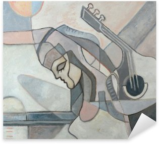 Vinilo Pixerstick Pintura abstracta con la mujer y la guitarra