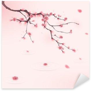 Vinilo Pixerstick Pintura oriental del estilo, flor del cerezo en primavera