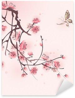 Pixerstick para Todas las Superficies Pintura oriental del estilo, flor del cerezo en primavera