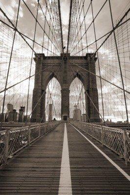 Pixerstick para Todas las Superficies Puente de Brooklyn en Nueva York. Tono sepia.
