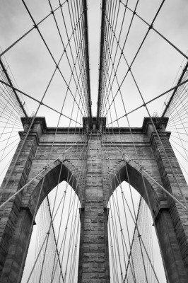 Pixerstick para Todas las Superficies Puente de Brooklyn New York de cerca los detalles de arquitectura en blanco y negro intemporal