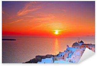 Pixerstick para Todas las Superficies Puesta de sol en Oia aldea en la isla de Santorini, Grecia