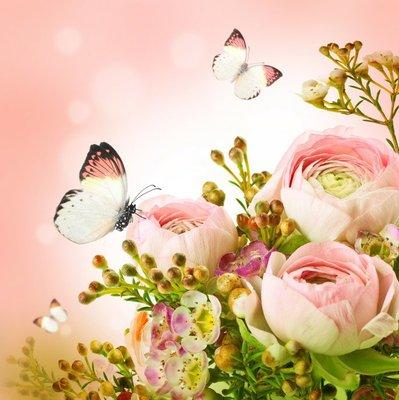 Pixerstick para Todas las Superficies Ramo de rosas de color rosa suave y la mariposa