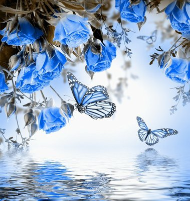 Pixerstick para Todas las Superficies Ramo de rosas delicadas y mariposas, fondo floral