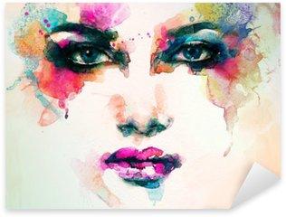 Vinilo Pixerstick Retrato de la mujer. acuarela abstracta. Fondo de la manera