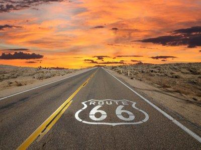 Pixerstick para Todas las Superficies Ruta 66 Pavimento Entrar Amanecer Mojave Desert