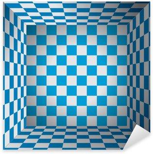 Vinilo Pixerstick Sala de tela escocesa, célula azul y blanco, caja de ajedrez 3d, vector oktoberfest diseño de fondo