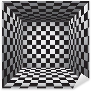 Vinilo Pixerstick Sala de tela escocesa, glóbulos blancos y negro, tablero de ajedrez 3d, vector de diseño de fondo