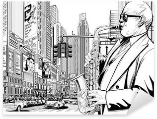 Vinilo Pixerstick Saxofonista en una calle de Nueva York