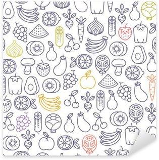 Vinilo Pixerstick Sin patrón, con frutas y verduras iconos