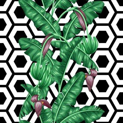 Pixerstick para Todas las Superficies Sin patrón, con hojas de plátano. Imagen decorativa de tropicales follaje, flores y frutas. Antecedentes de hecho sin la máscara de recorte. Fácil de usar para el telón de fondo, textiles, papel de envolver