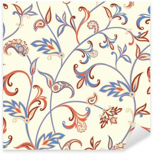 Vinilo Pixerstick Sin patrón floral. Fondo del remolino de la flor. ornamento árabe con fantásticas flores y hojas.