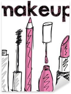Pixerstick para Todas las Superficies Sketch de los productos de maquillaje. Ilustración vectorial