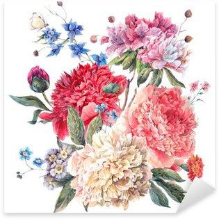 Vinilo Pixerstick Tarjeta de felicitación floral de la vendimia con flores peonías