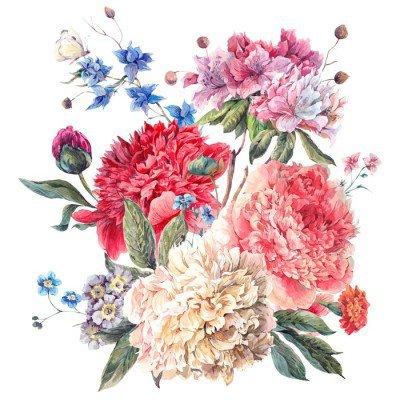 Pixerstick para Todas las Superficies Tarjeta de felicitación floral de la vendimia con flores peonías