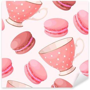 Vinilo Pixerstick Tazas de té sin soldadura y macarons