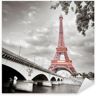 Vinilo Pixerstick Torre Eiffel monocromo coloración selectiva