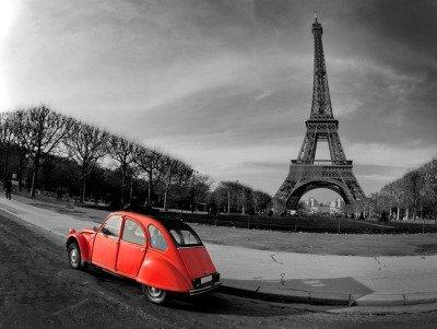 Pixerstick para Todas las Superficies Tour Eiffel et voiture rouge-Paris