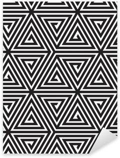 Vinilo Pixerstick Triángulos, Blanco y Negro Modelo geométrico abstracto inconsútil,