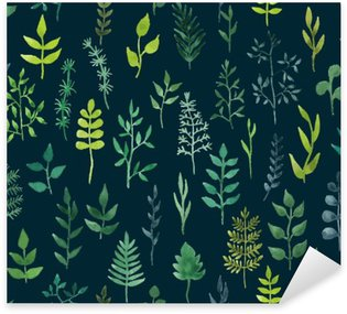 Pixerstick para Todas las Superficies Vector de acuarela verde sin fisuras patrón floral.