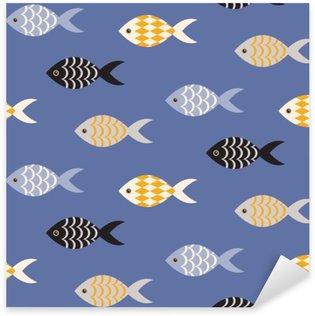 Vinilo Pixerstick Vector de pescado blanco y negro sin fisuras patrón. Banco de peces en filas en modelo océano azul. temático marino de verano.