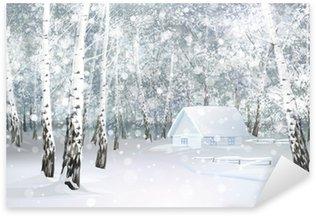 Pixerstick para Todas las Superficies Vector del paisaje de invierno cubierto de nieve con casa en el bosque de abedules.
