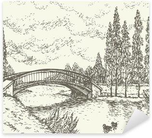 Pixerstick para Todas las Superficies Vector paisaje. Boceto del parque del puente sobre el lago