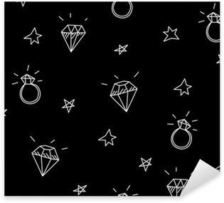 Vinilo Pixerstick Vector patrón transparente con anillos de boda, estrellas y joyas. elementos antiguos del tatuaje de la escuela. estilo inconformista