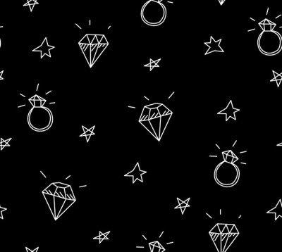 Pixerstick para Todas las Superficies Vector patrón transparente con anillos de boda, estrellas y joyas. elementos antiguos del tatuaje de la escuela. estilo inconformista