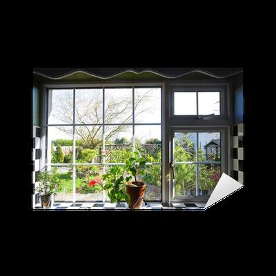 Vinilo pixerstick ventana de la cocina con la vista en el jard n pixers vivimos para cambiar - Cambiar cocina con vinilo ...