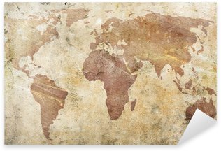 Vinilo Pixerstick Vintage mapa del mundo