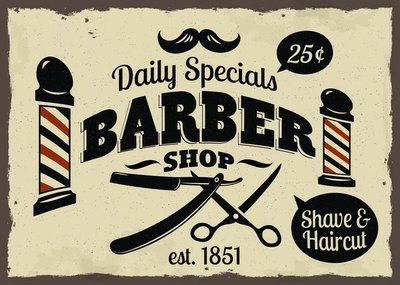 Pixerstick para Todas las Superficies Vintage Styled Barber Shop