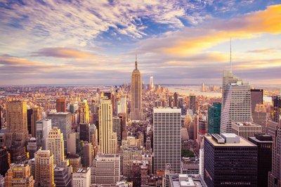Pixerstick para Todas las Superficies Vista del atardecer de la ciudad de Nueva York con vistas a Manhattan