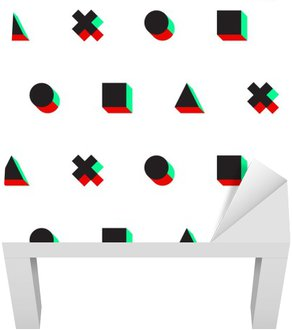 Vinil para Mesa Lack Triângulo cruz círculo quadrado 3D estéreo padrão digital web