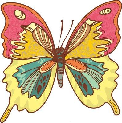 иллюстрация бабочка. контуры и красивые цвета