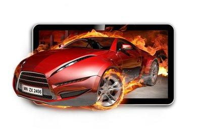 3D TV. Burning car on TV screen.
