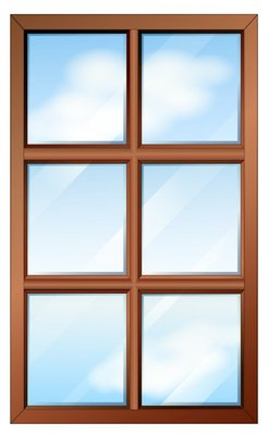 A wooden window with glasspanes