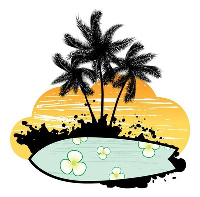 Abstract with palm trees and surfboard