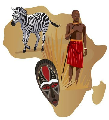 African Man, Zebra and Mask