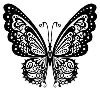 Artistic pattern with butterfly, suitable for a tattoo