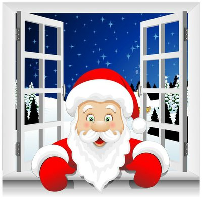 Babbo Natale alla Finestra-Santa Claus at the Window-Vector