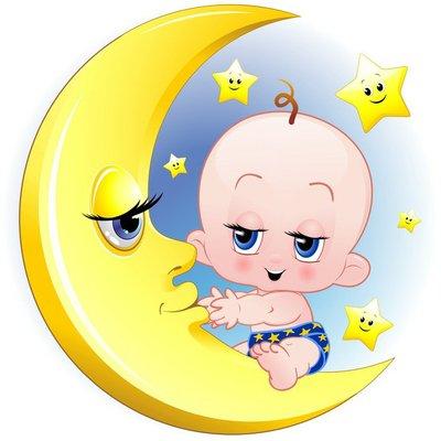 Bambino Neonato e Luna Cartoon-Baby with Moon-Vector