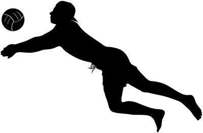 Beach volley: silhouette di uomo che gioca a palla a volo