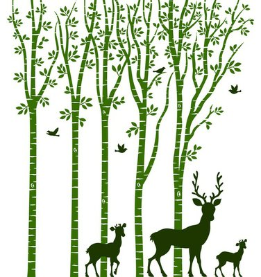 Birch Tree with Deer
