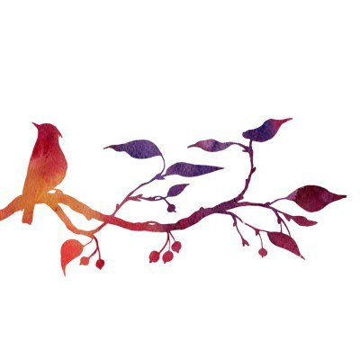 Wall Decal bird at tree silhouettes